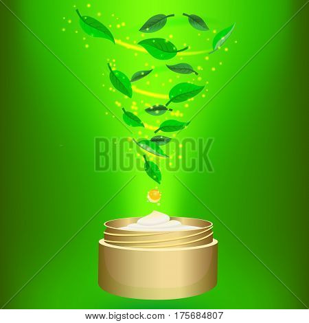 Phyto cream on green background. Spiral of tea leaves in a jar of cream. Cosmetics vector illustration.