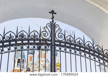 Berdsk Novosibirsk oblast Siberia Russia - February 26 2017: the Central entrance to the Cathedral in honor of the Transfiguration of the Lord
