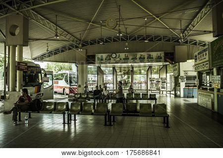 Bintulu Malaysia - 25 November 2009: Main bus station in Bintulu Malaysia that connects the city to the rest of Sarawak and Kalimantan