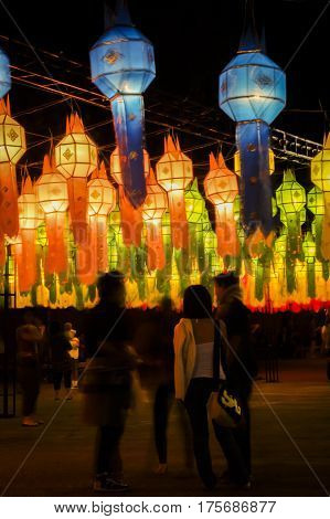 Paper lanterns at the Yi Ping lantern festival in Chiang Mai Thailand