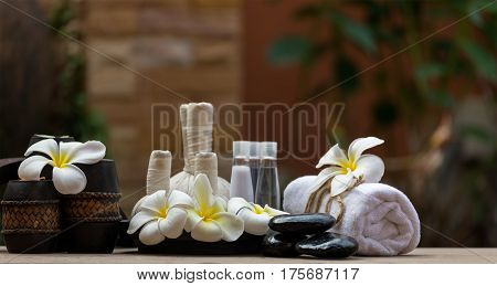 Spa massage compress balls, herbal ball and treatment spa, Thailand, select focus