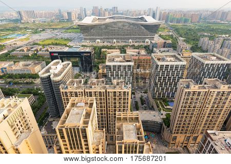 Chengdu Sichuan Province China - July 27 2016 : Century Global Center and buildings aerial view in the South district of Chengdu.