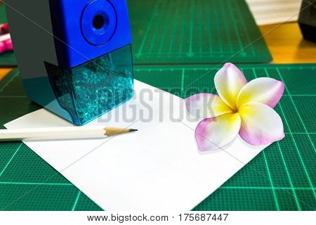 Blank Or Empty Space Note Pad Or Memo Pad With Plumeria Or Frangipani Flower And Pencil