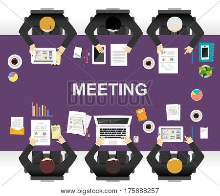 Meeting or discussion concept illustration. Flat design. Brainstorming or define a solution concept.