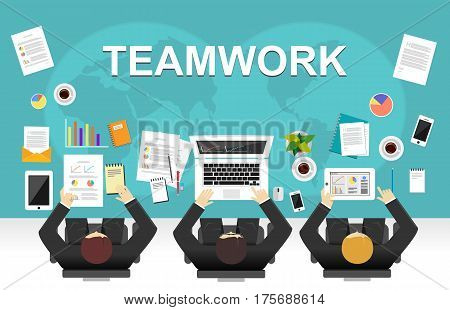 Teamwork illustration. Flat design illustration concepts for team meeting , discussion , strategy.
