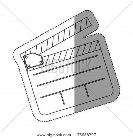 monochrome contour sticker with clapperboard cinema vector illustration