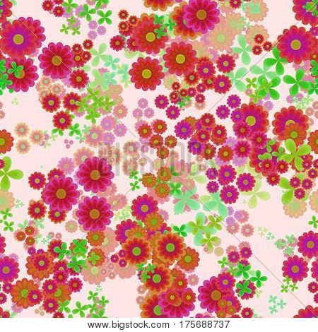Abstract flowers, Red, orange, pink and green floral pattern, Leafs and blooms, Petal leafy texture background, Seamless illustration