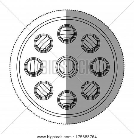 monochrome contour sticker with cinematography tape vector illustration