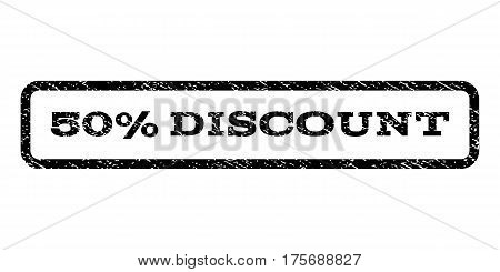 50 Percent Discount watermark stamp. Text tag inside rounded rectangle with grunge design style. Rubber seal stamp with unclean texture. Vector black ink imprint on a white background.