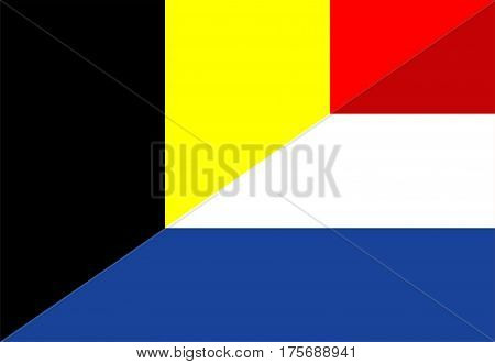 belgium netherland neighbor countries half flag symbol