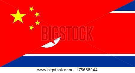 china north korea neighbor countries half flag symbol