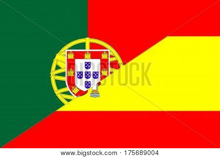 portugal spain neighbor countries half flag symbol