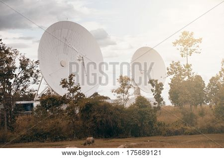 View of a big long range communication antenna.
