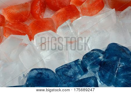 Red, white and blue patriotic ice cubes for July 4th Independence Day