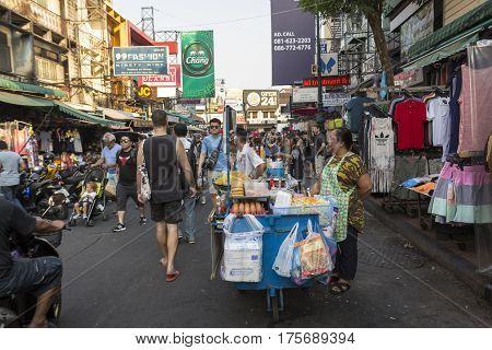 BANGKOK THAILAND - MAR 3 : tourist crowd in Khao San road on march 3 2016. Khao San road is tourist hub of Bangkok.