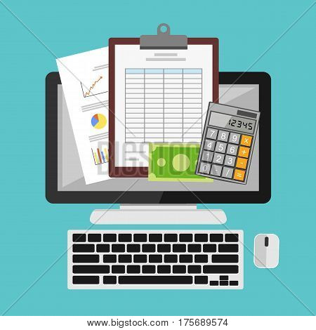 Tax or spreadsheet on desktop concept illustration. Business tools