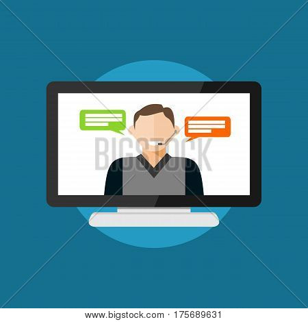 Video conference or video call. Telecommunication by computer