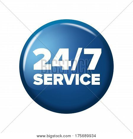 Bright Blue Round Button With Words '24/7 Service'