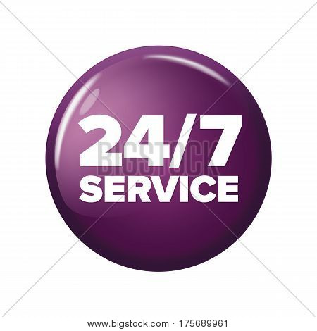 Bright Violet Round Button With Words '24/7 Service'