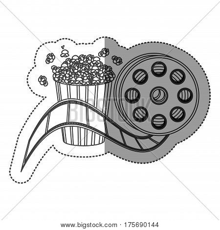monochrome contour sticker with cinematography movie tape and popcorn vector illustration