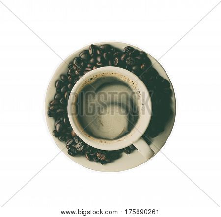 top view of cup of coffee isolated on white background