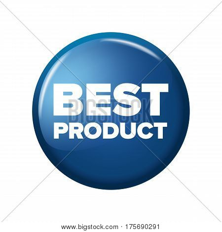 Bright Blue Round Button With Word 'best Product'