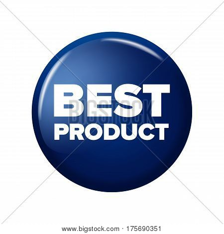 Bright Navy Blue Round Button With Word 'best Product'