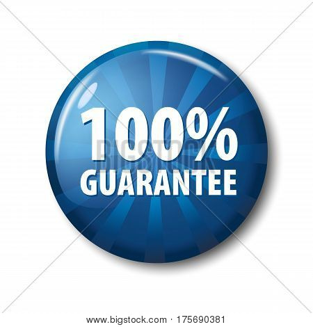 Bright Blue Button With Words '100% Guarantee'