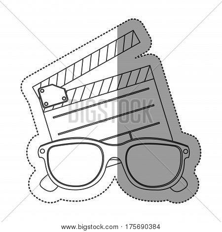 monochrome contour sticker with clapper board and 3d glasses vector illustration