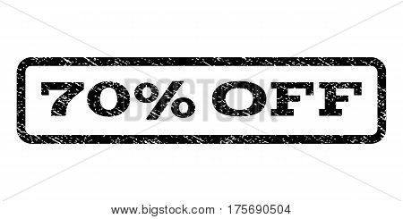70 Percent Off watermark stamp. Text caption inside rounded rectangle frame with grunge design style. Rubber seal stamp with dust texture. Vector black ink imprint on a white background.