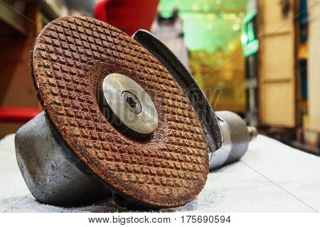 Close up to the grinding wheel on a grinding stones tool