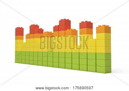3d rendering of multi-colored toy bricks making up high uneven towers or graphs on white background. Toys and games. Leisure and recreation.