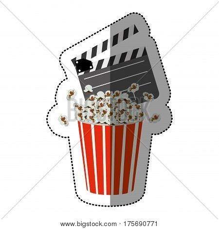 colorful sticker with popcorn container and clapper board vector illustration