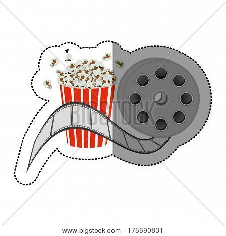 colorful sticker with cinematography movie tape and popcorn vector illustration