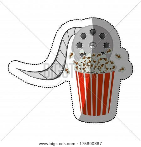 colorful sticker with cinematography movie video film tap and popcorn vector illustration