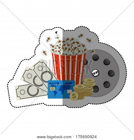 colorful sticker with popcorn cup and money and movie tickets and movie tape vector illustration