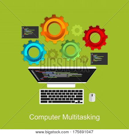 Computer multitasking process concept illustration. System operation. On process