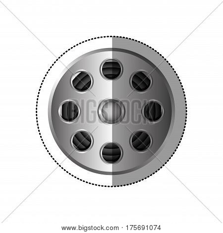 grayscale sticker with cinematography tape vector illustration