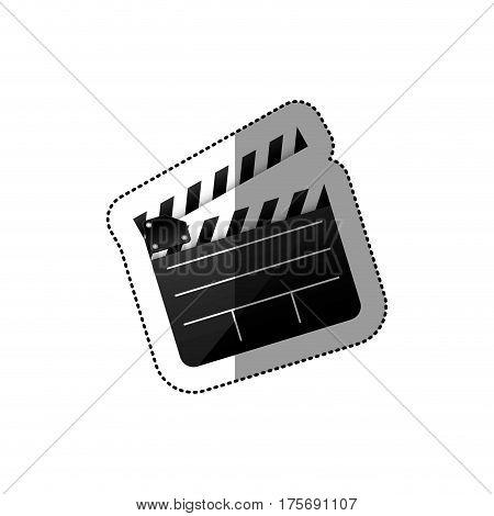 black silhouette sticker with clapperboard cinema vector illustration