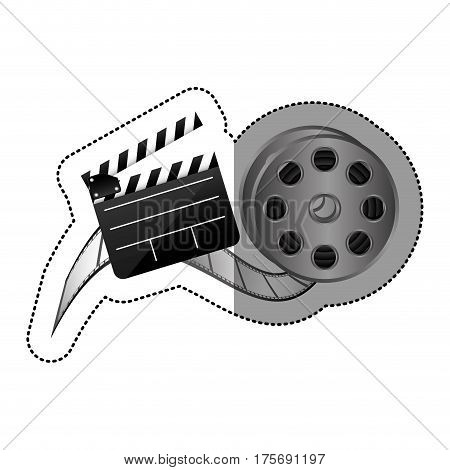 sticker with cinematography movie video film tap and clapperboard vector illustration