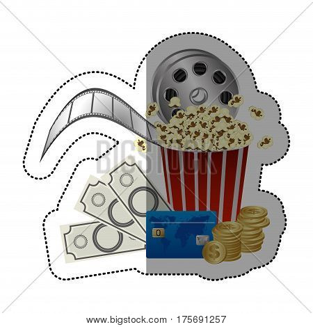 colorful sticker with popcorn cup and money and movie tickets and cinematography tape vector illustration