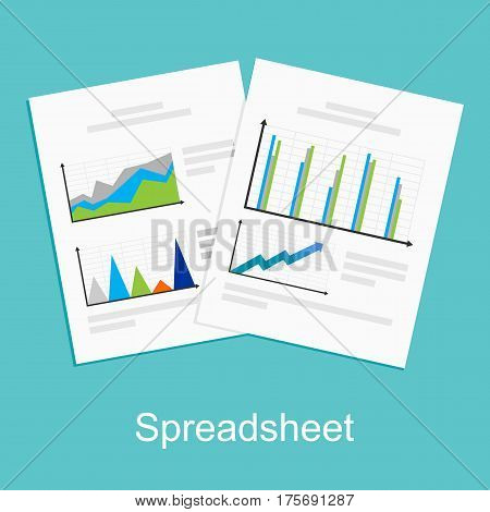 Spreadsheet , report, business documents symbol concept illustration.
