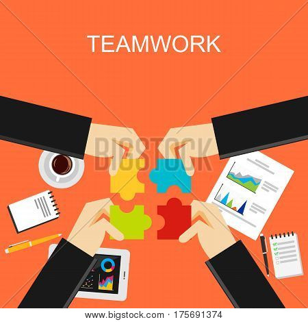 Teamwork concept illustration. Flat design illustration concepts for teamwork , meeting , discussion working , business solution , strategy create solution.