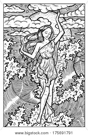 Sea Nymph in waves. Hand drawn vector illustration. Engraved line art drawing, black and white doodle. See all fantasy collection in my portfolio set