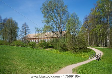 PUSHKINSKIYE GORY, RUSSIA - MAY 08, 2016: Sunny May day in Trigorskoye's estate. Memorial estate