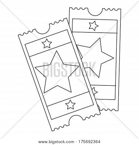 grayscale contour with movie tickets vector illustration