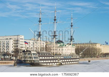 ST. PETERSBURG, RUSSIA - JANUARY 20, 2017: A frigate
