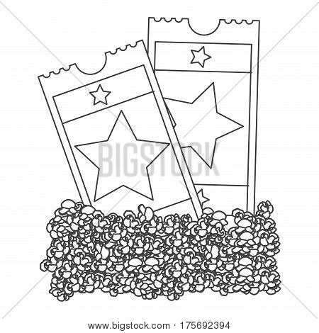 grayscale contour with popcorn and movie tickets vector illustration