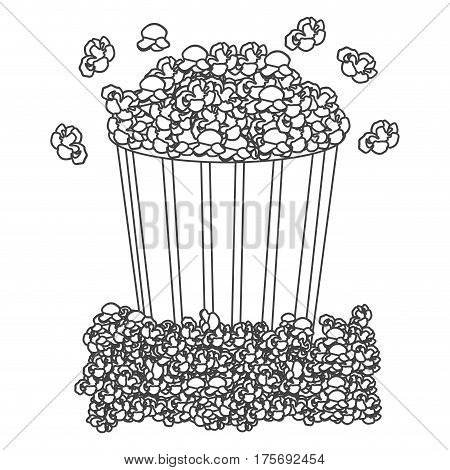grayscale contour with popcorn container vector illustration