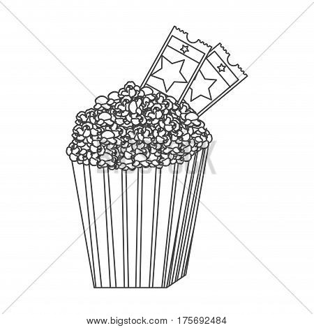 grayscale contour of popcorn container with movie tickets inside vector illustration